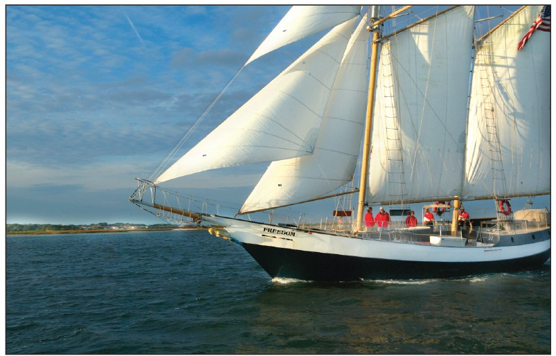 Avec près de 2400 pieds carrés de voile, Schooner Freedom est un témoignage honorable de l'histoire navale et des coureurs de blocus du début des années 1800. AVEC LA COURTOISIE DE ST. AUGUSTINE, PONTE VEDRA & THE BEACHES VISITEURS ET BUREAU DES CONGRÈS